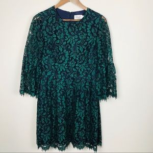 ELIZA J Lace Fit and Flare Navy Green Lace Size 8
